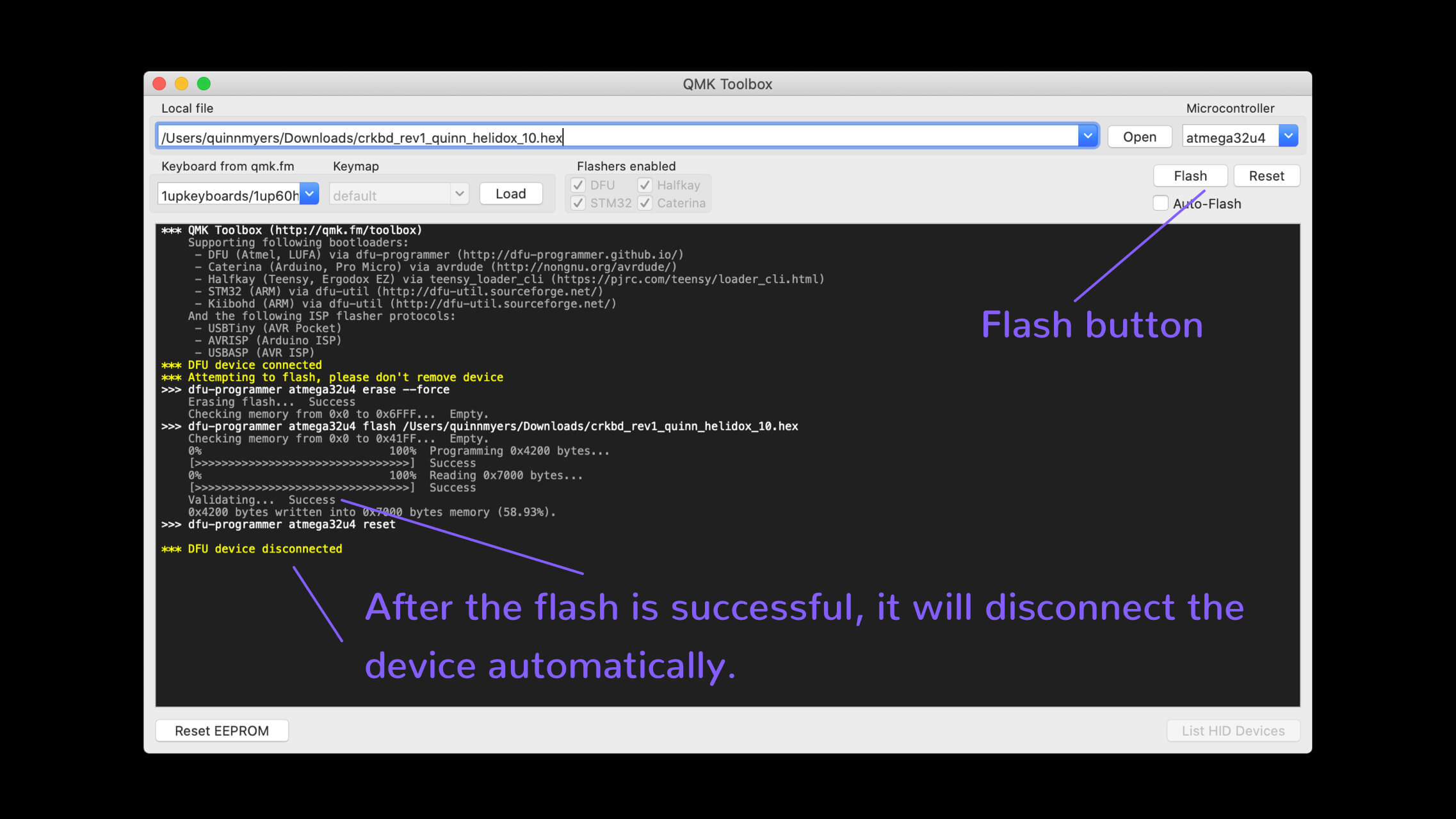 qmk toolbox successful flash message
