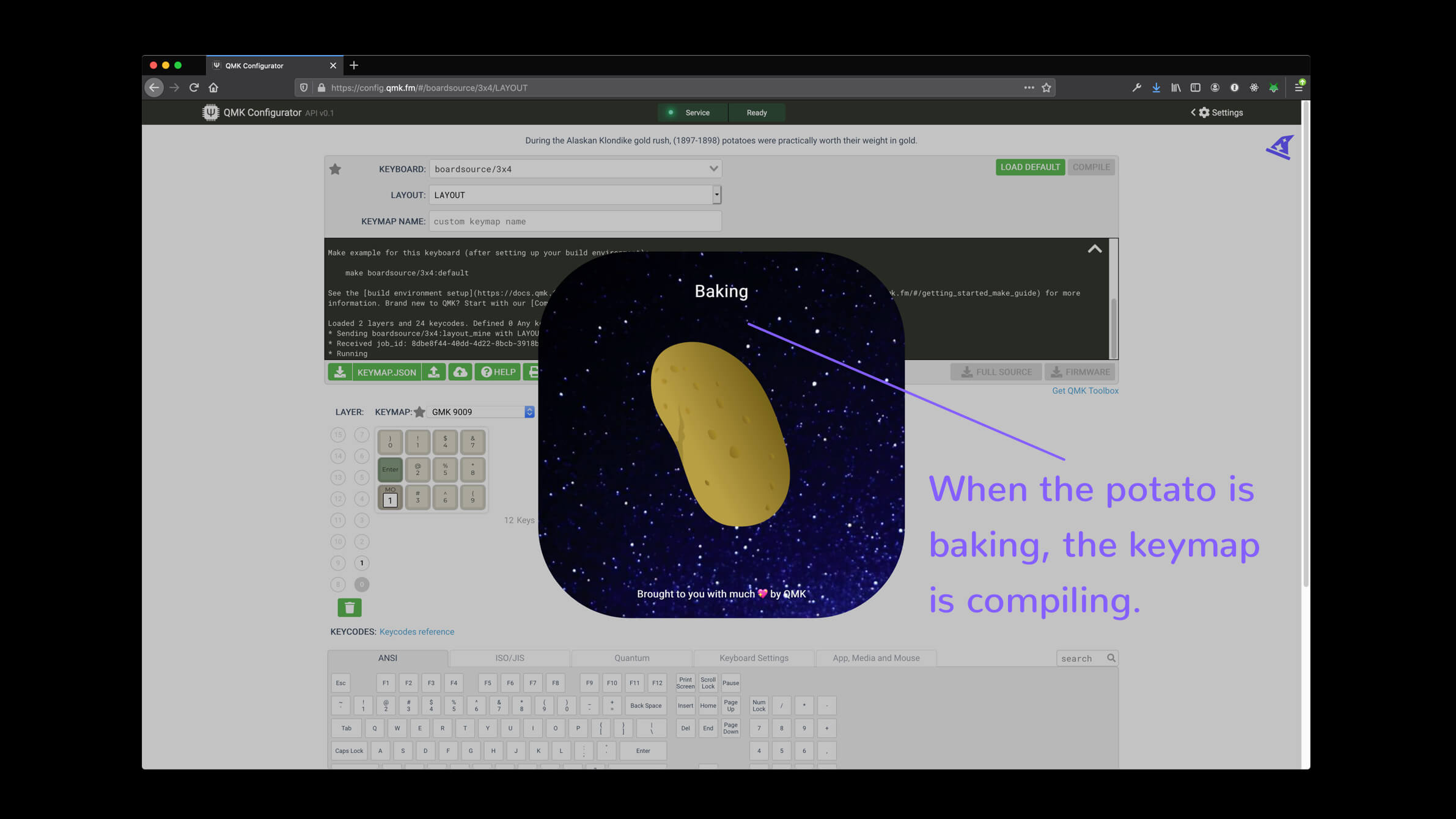 qmk configurator compiling potato