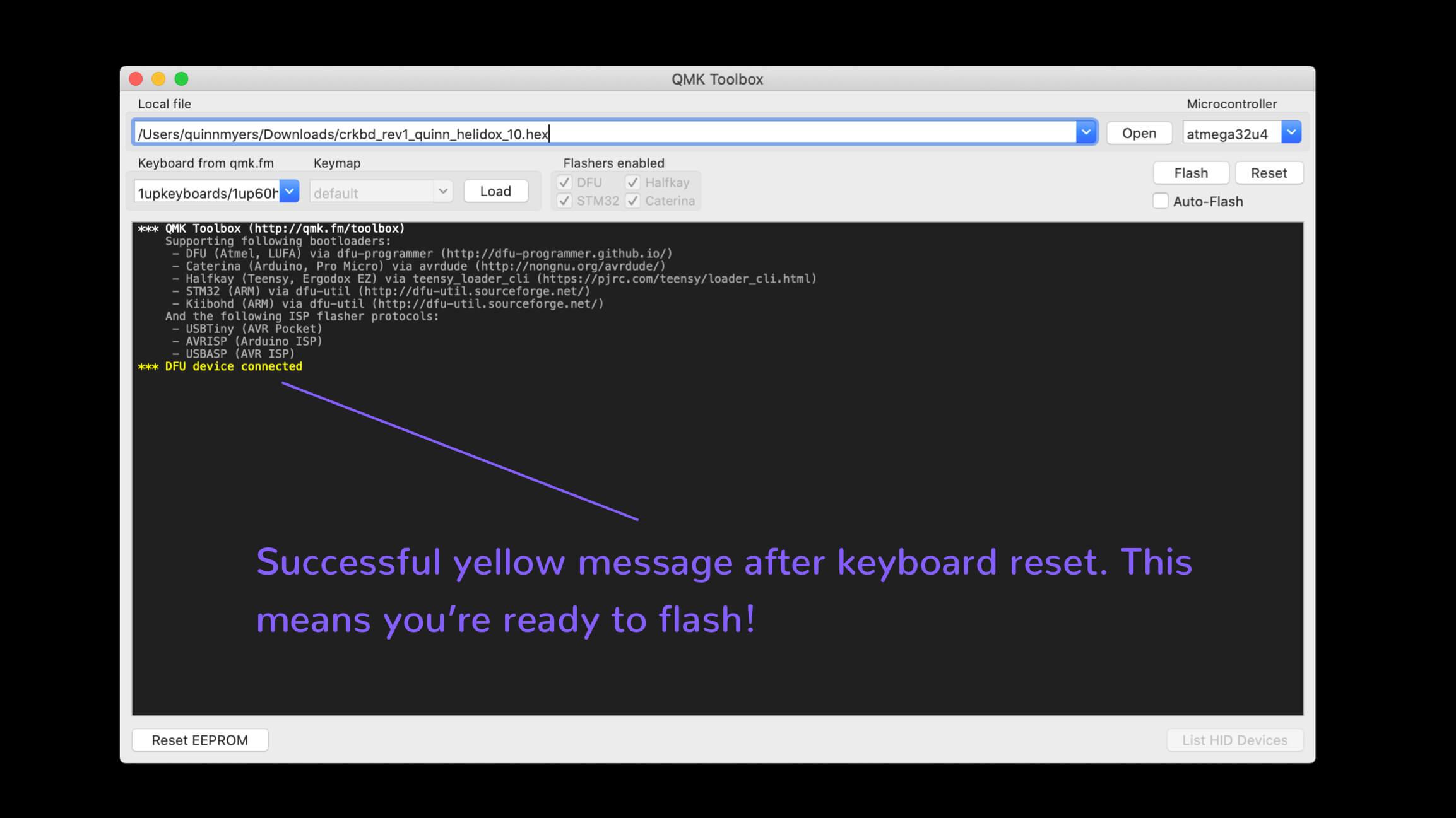 qmk toolbox reset success yellow message